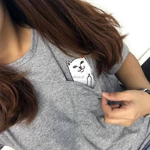 ac5324db5 T-shirt z kotkiem CAT kieszonkowy S-XL - Sklep internetowy Dybcia
