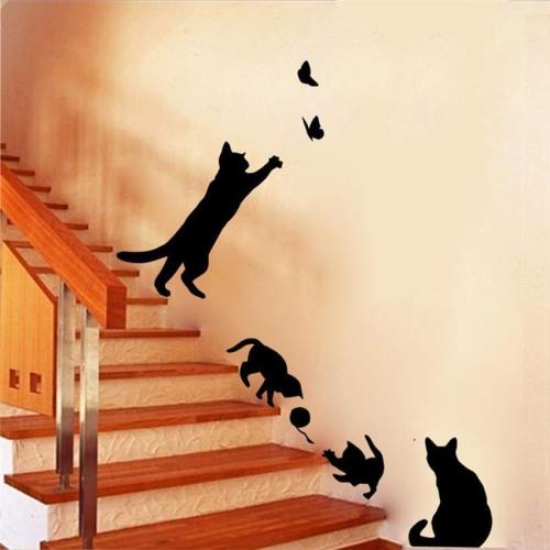 Naklejka Na ścianę Kot Z Kłębuszkiem Sklep Internetowy Dybcia