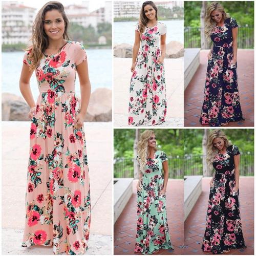 Piękna długa sukienka Floral z krótkim rękawem S 3XL Z056