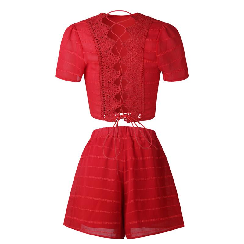 aeee5d825b1bd7 Kombinezon damski czerwony dwuczęściowy wiązany S-XL 015 - Sklep ...