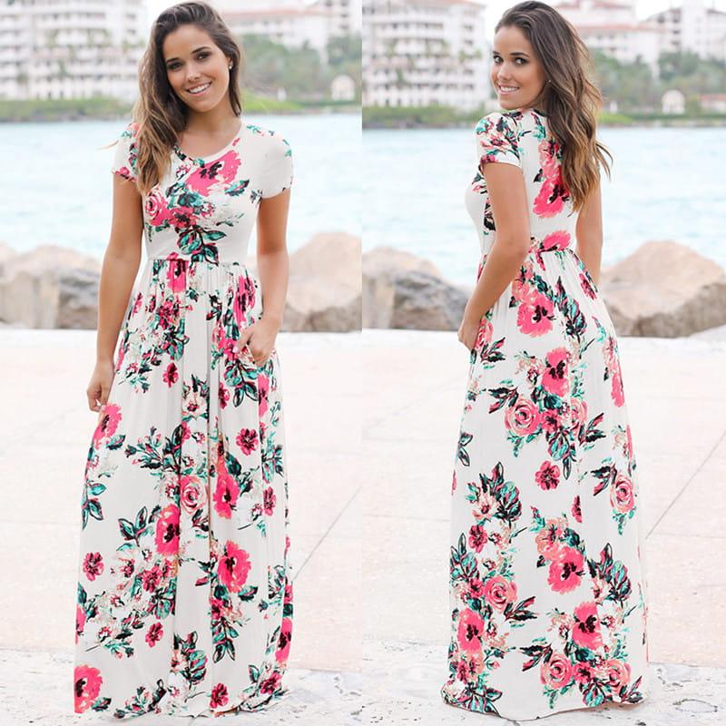 892ff143aa Piękna długa sukienka Floral z krótkim rękawem S-3XL. 00.jpg. 00.jpg   1.jpg  3.jpg ...