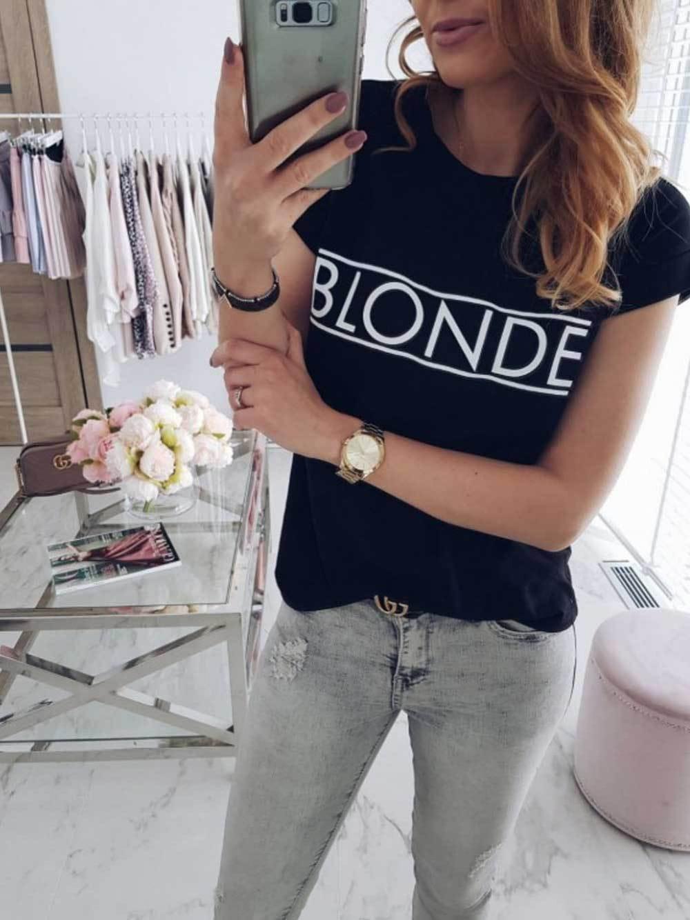 b89ea1a4e T-shirt z napisem BLONDE S-XL 02 - Sklep internetowy Dybcia
